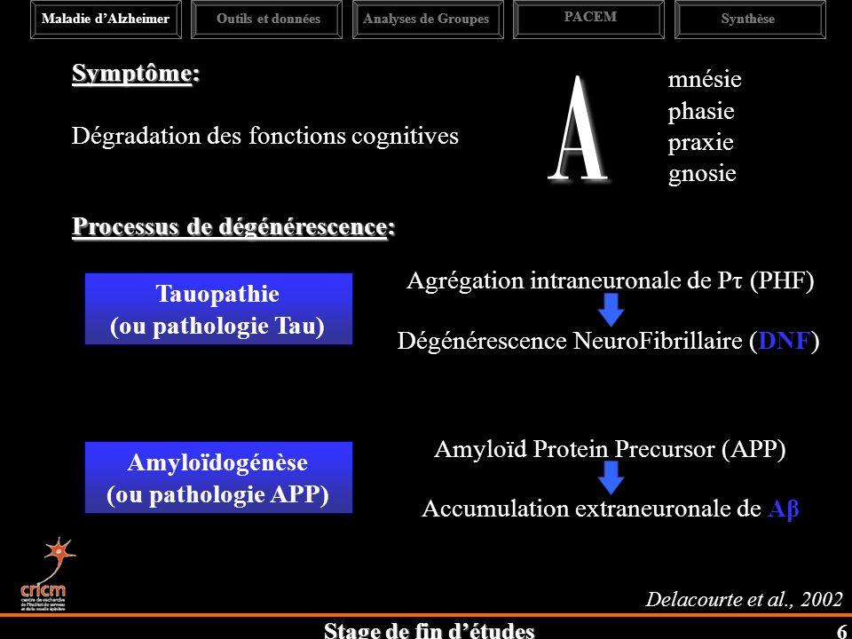 A Symptôme: mnésie phasie Dégradation des fonctions cognitives praxie