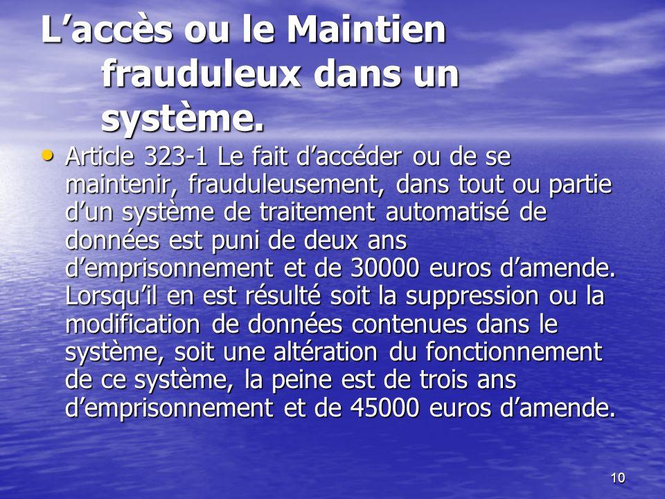 L'accès ou le Maintien frauduleux dans un système.