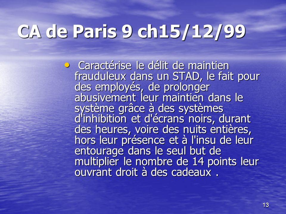 CA de Paris 9 ch15/12/99