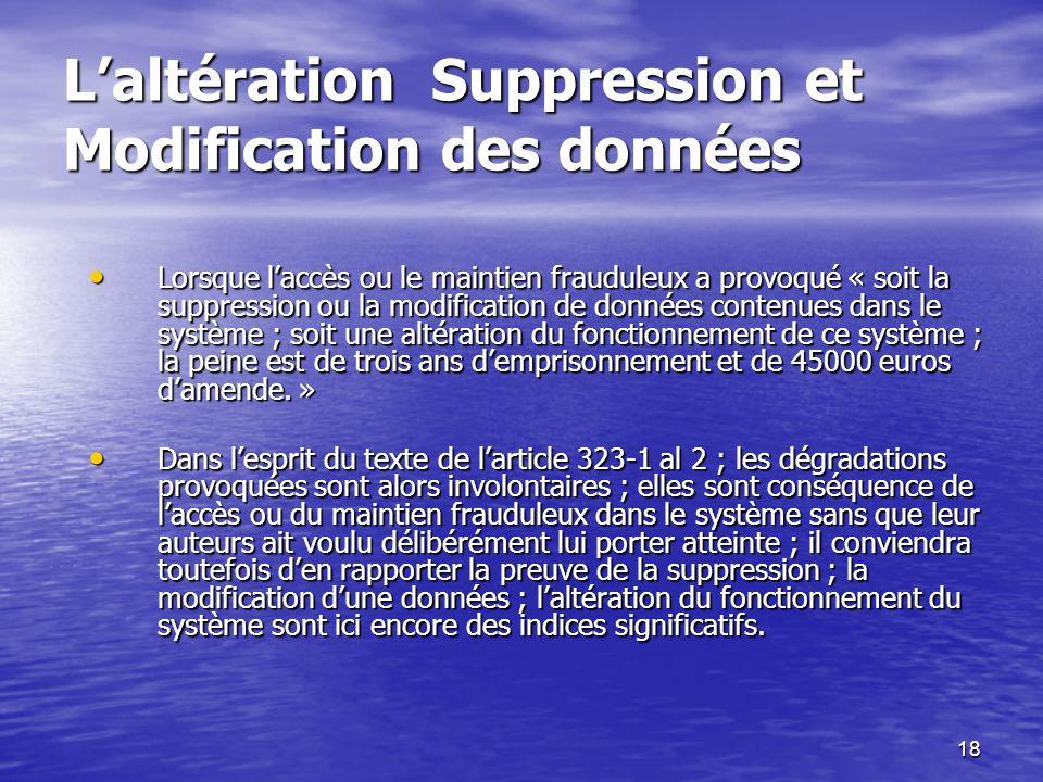 L'altération Suppression et Modification des données