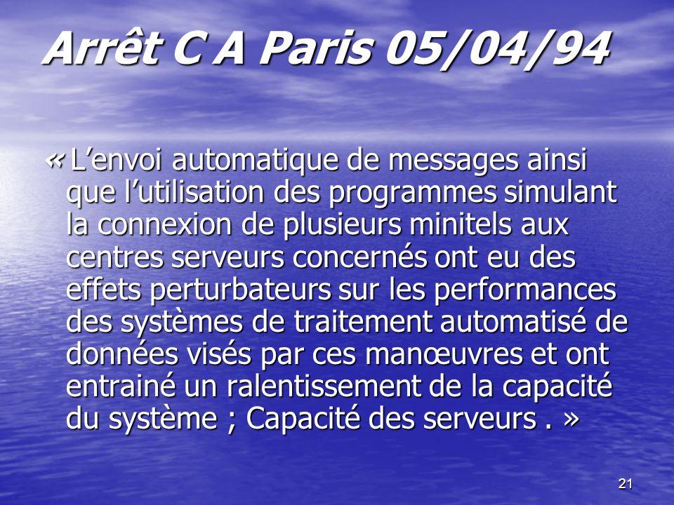 Arrêt C A Paris 05/04/94