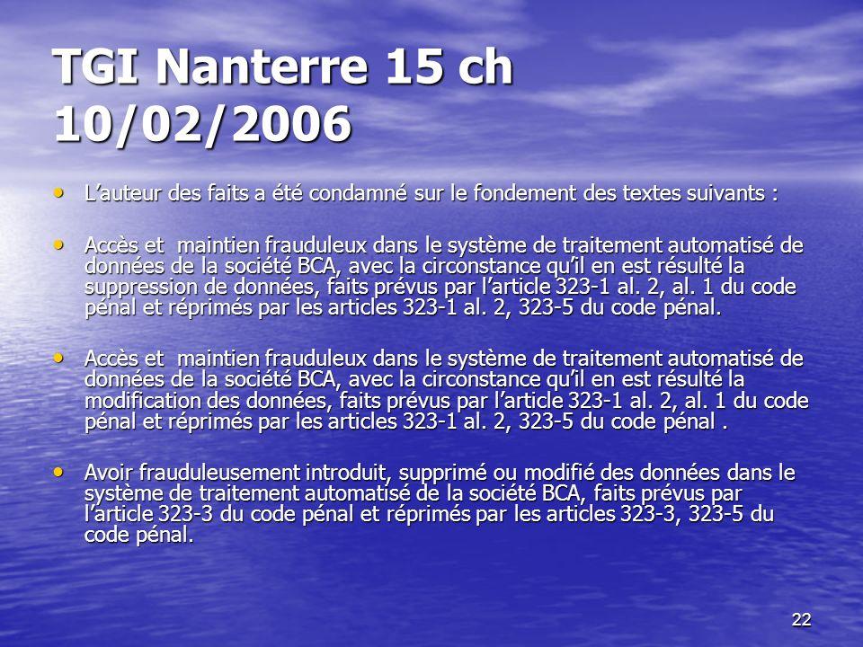 TGI Nanterre 15 ch 10/02/2006 L'auteur des faits a été condamné sur le fondement des textes suivants :
