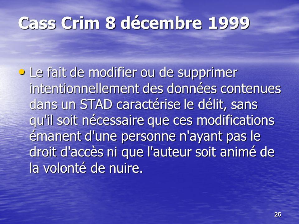 Cass Crim 8 décembre 1999