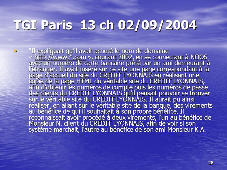 TGI Paris 13 ch 02/09/2004