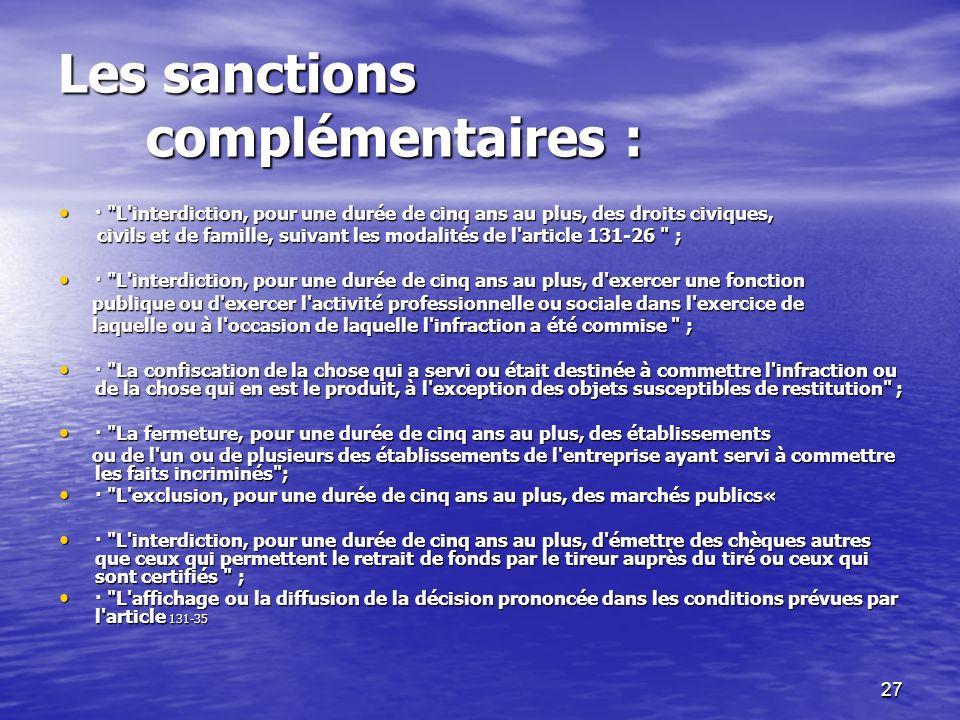Les sanctions complémentaires :