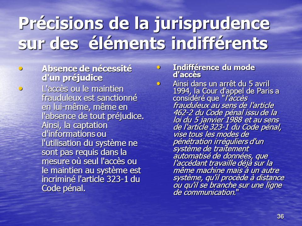 Précisions de la jurisprudence sur des éléments indifférents