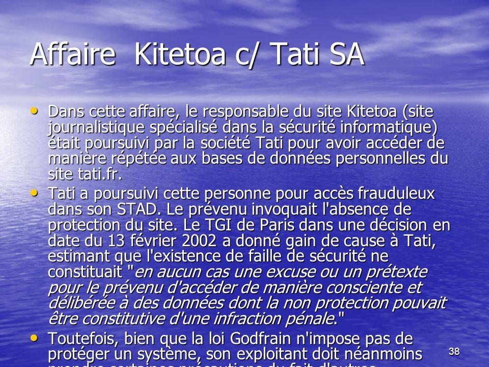 Affaire Kitetoa c/ Tati SA