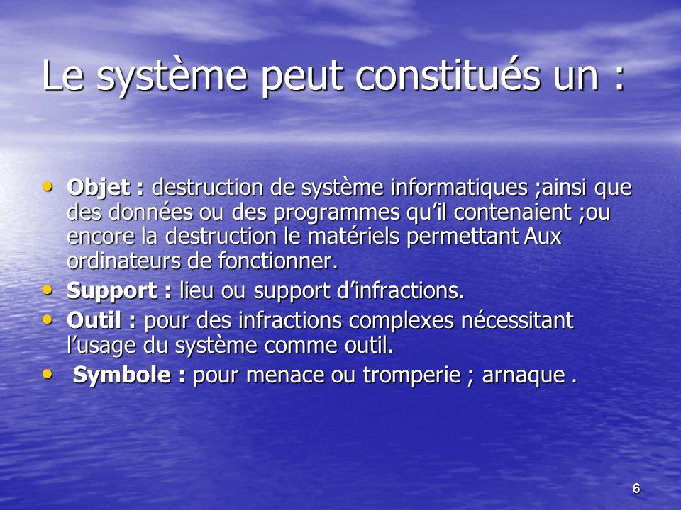 Le système peut constitués un :