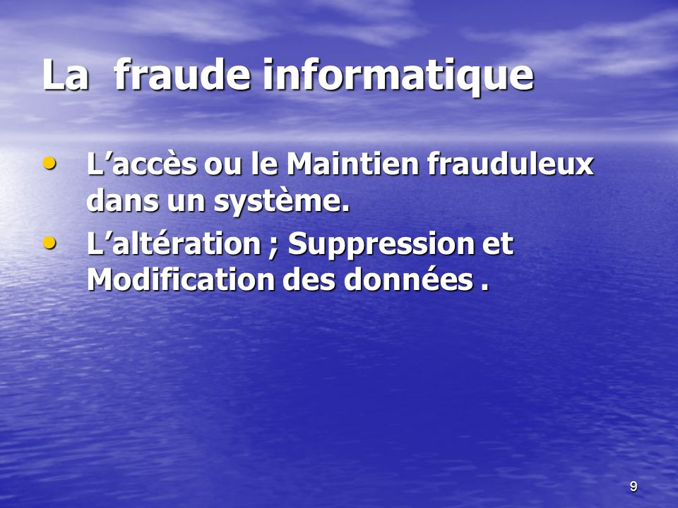 La fraude informatique