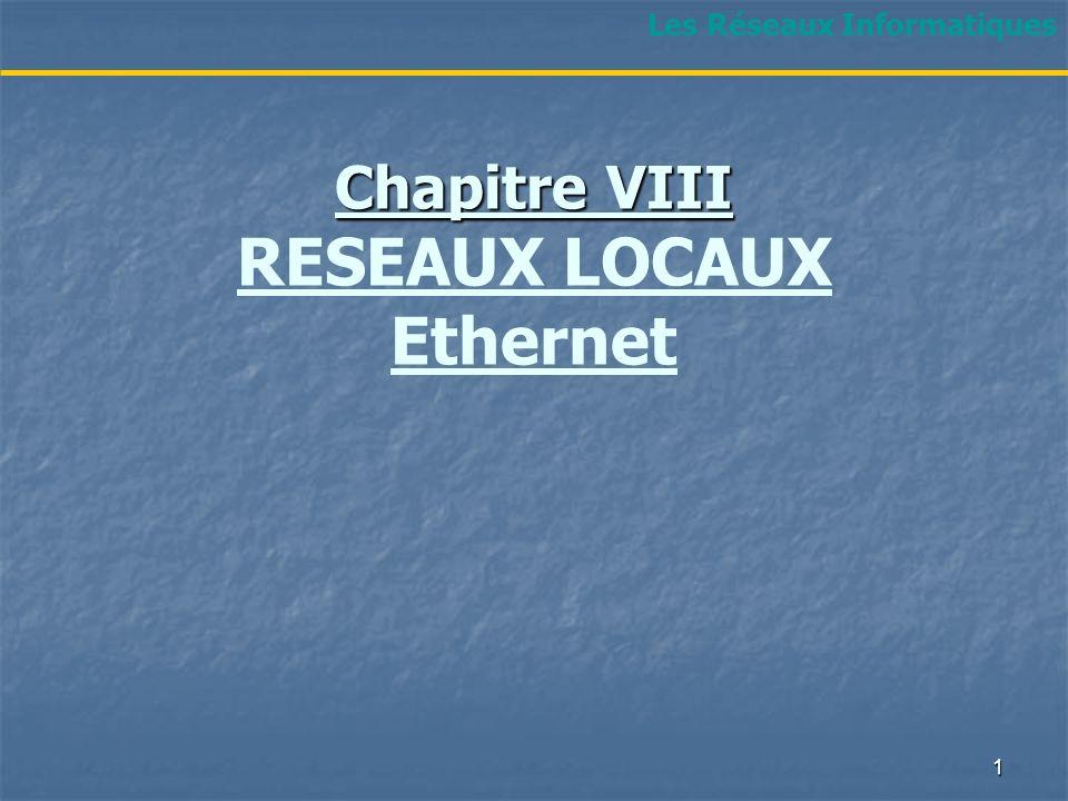 Chapitre VIII RESEAUX LOCAUX Ethernet