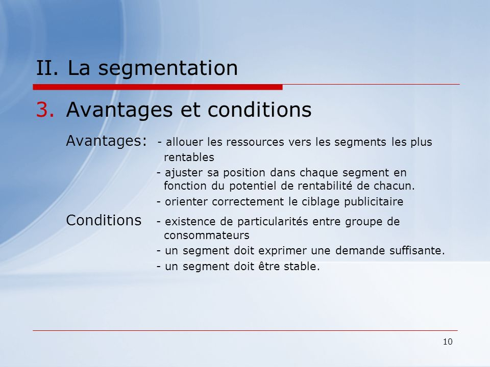 Avantages et conditions