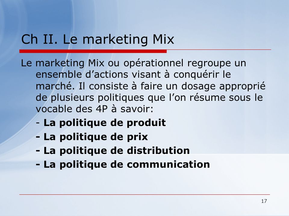 Ch II. Le marketing Mix