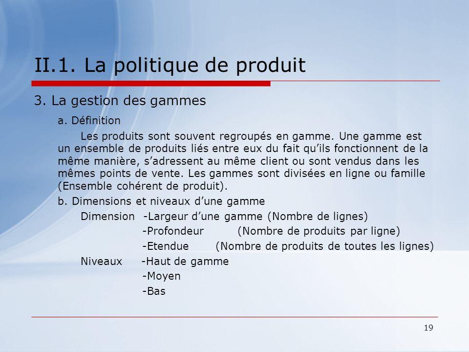 II.1. La politique de produit