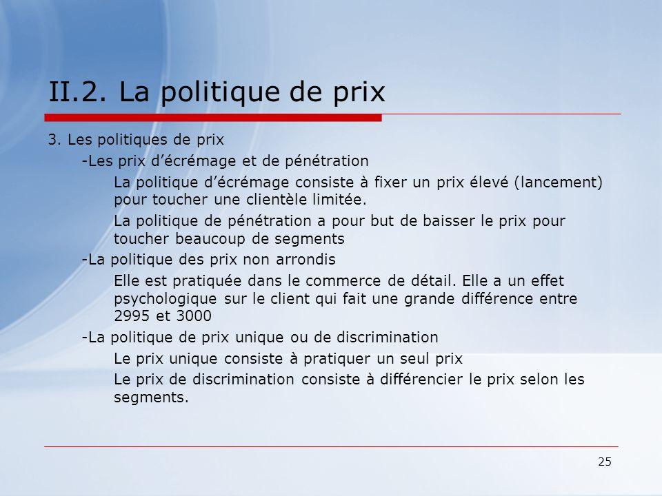 II.2. La politique de prix 3. Les politiques de prix
