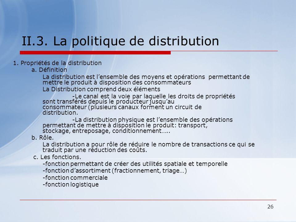 II.3. La politique de distribution