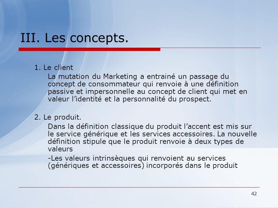 III. Les concepts. 1. Le client