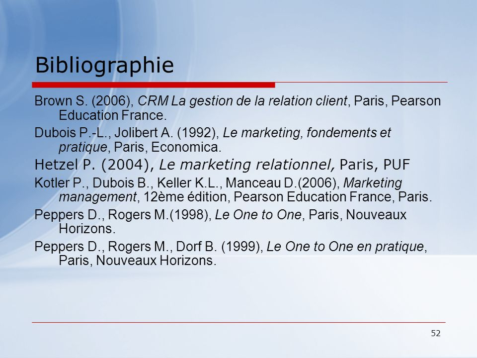 Bibliographie Hetzel P. (2004), Le marketing relationnel, Paris, PUF