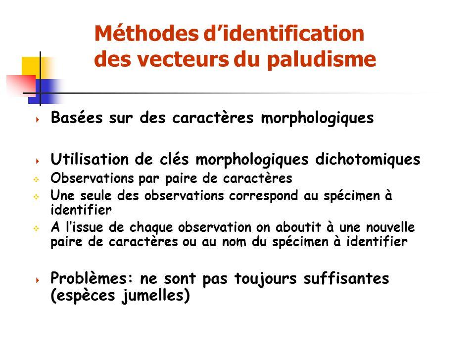 Méthodes d'identification des vecteurs du paludisme