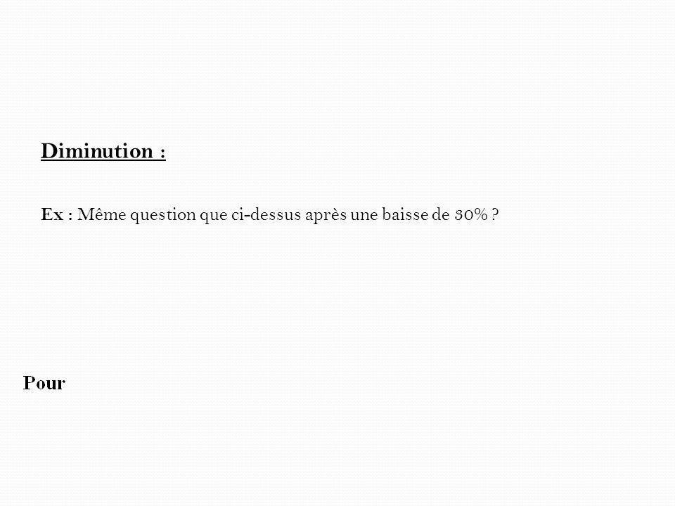 Diminution : Ex : Même question que ci-dessus après une baisse de 30%