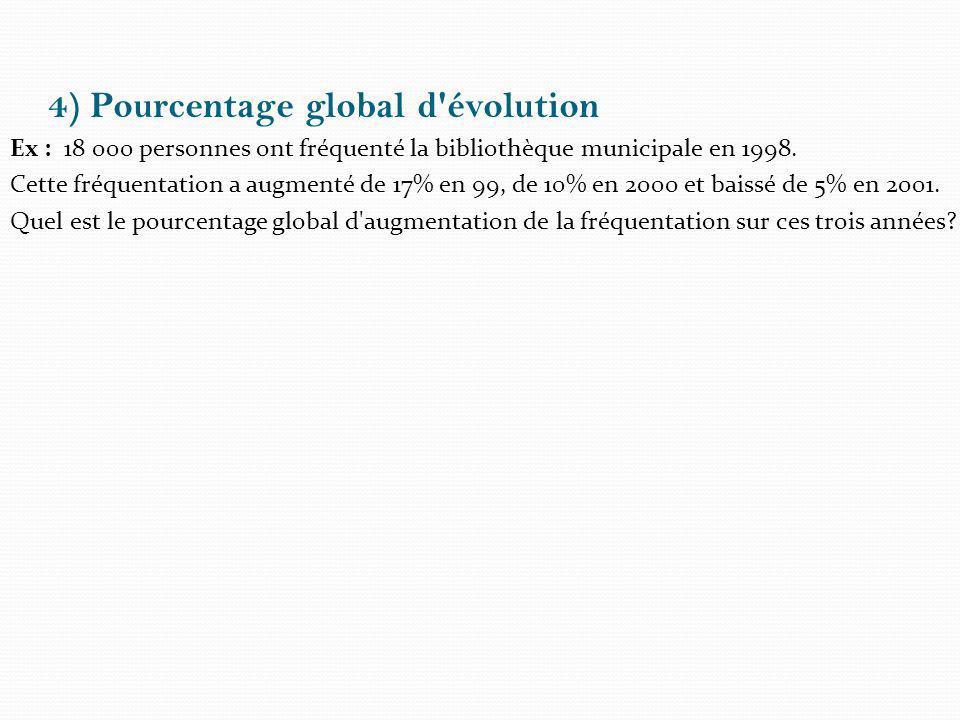 4) Pourcentage global d évolution