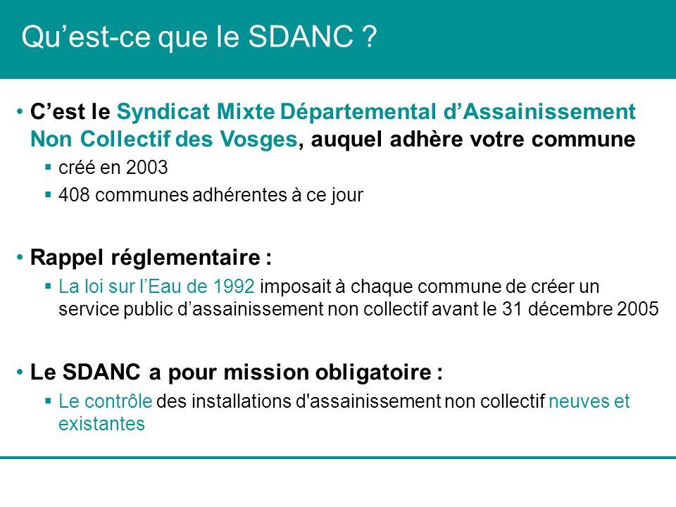 Qu'est-ce que le SDANC C'est le Syndicat Mixte Départemental d'Assainissement Non Collectif des Vosges, auquel adhère votre commune.