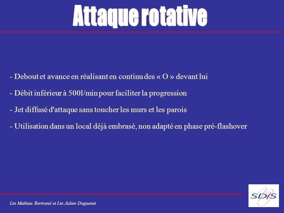 Attaque rotative Debout et avance en réalisant en continu des « O » devant lui. Débit inférieur à 500l/min pour faciliter la progression.