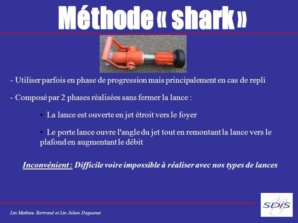 Méthode « shark » Utiliser parfois en phase de progression mais principalement en cas de repli.