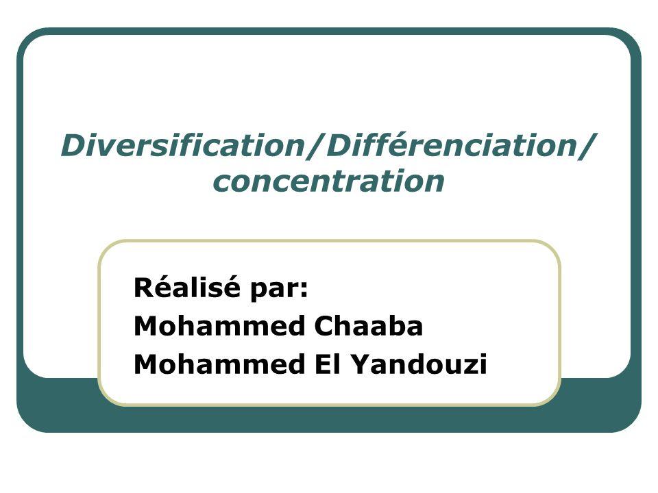 Diversification/Différenciation/concentration