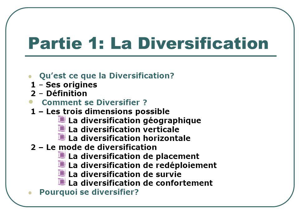 Partie 1: La Diversification
