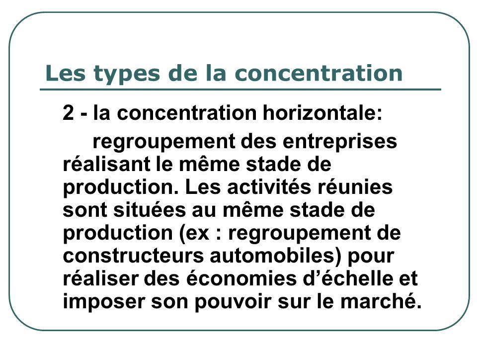 Les types de la concentration