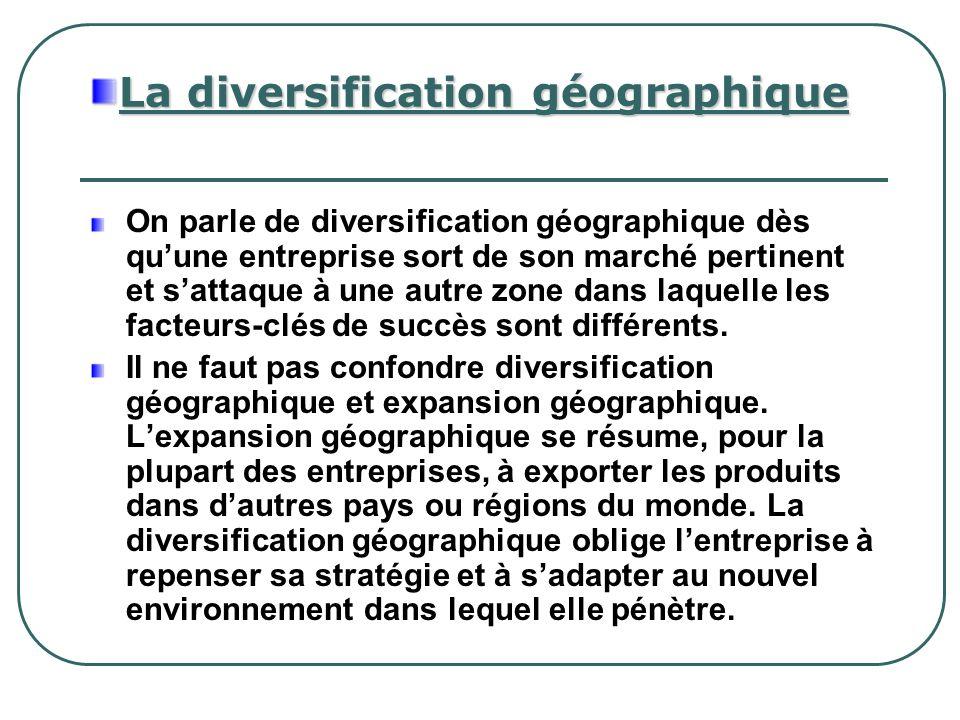La diversification géographique