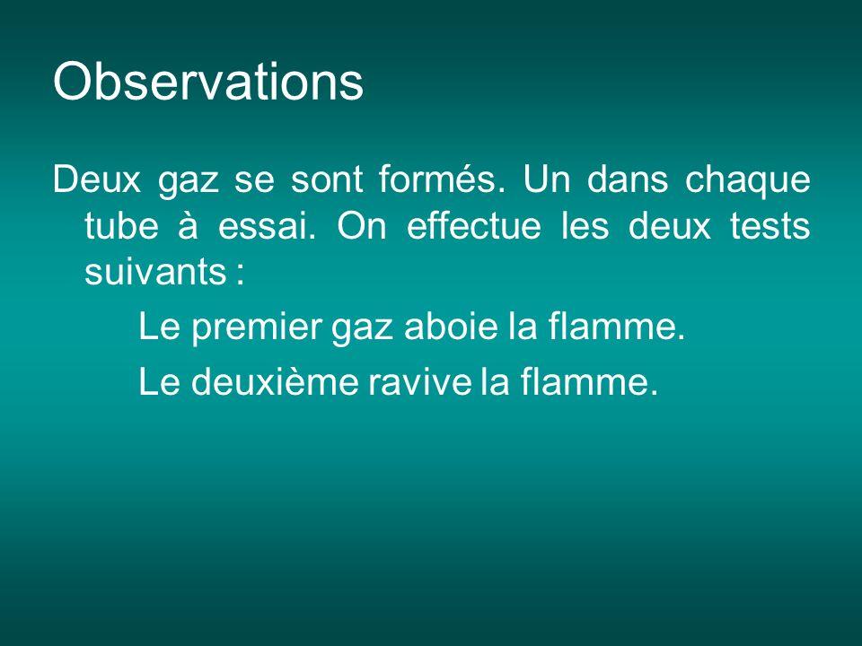 ObservationsDeux gaz se sont formés. Un dans chaque tube à essai. On effectue les deux tests suivants :