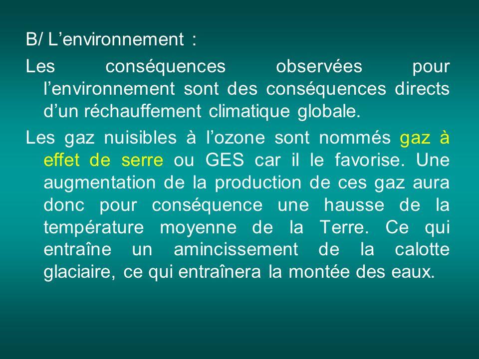 B/ L'environnement : Les conséquences observées pour l'environnement sont des conséquences directs d'un réchauffement climatique globale.
