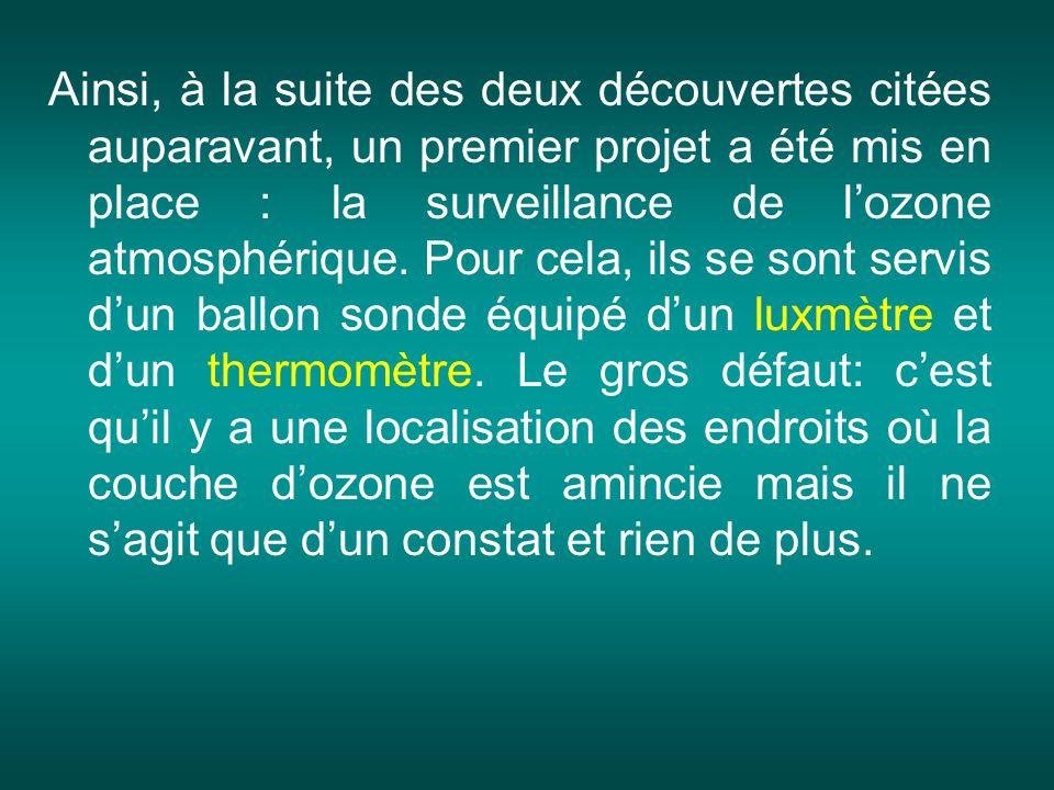 Ainsi, à la suite des deux découvertes citées auparavant, un premier projet a été mis en place : la surveillance de l'ozone atmosphérique.
