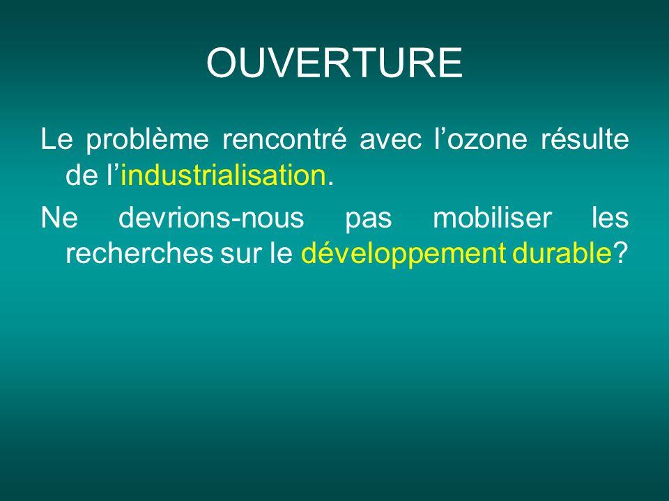 OUVERTURE Le problème rencontré avec l'ozone résulte de l'industrialisation.