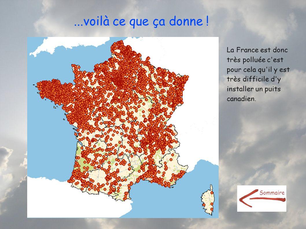 ...voilà ce que ça donne !La France est donc très polluée c est pour cela qu il y est très difficile d y installer un puits canadien.