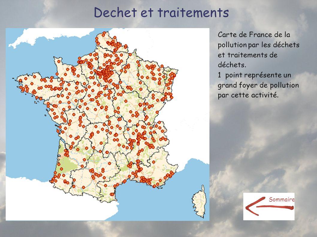 Dechet et traitementsCarte de France de la pollution par les déchets et traitements de déchets.
