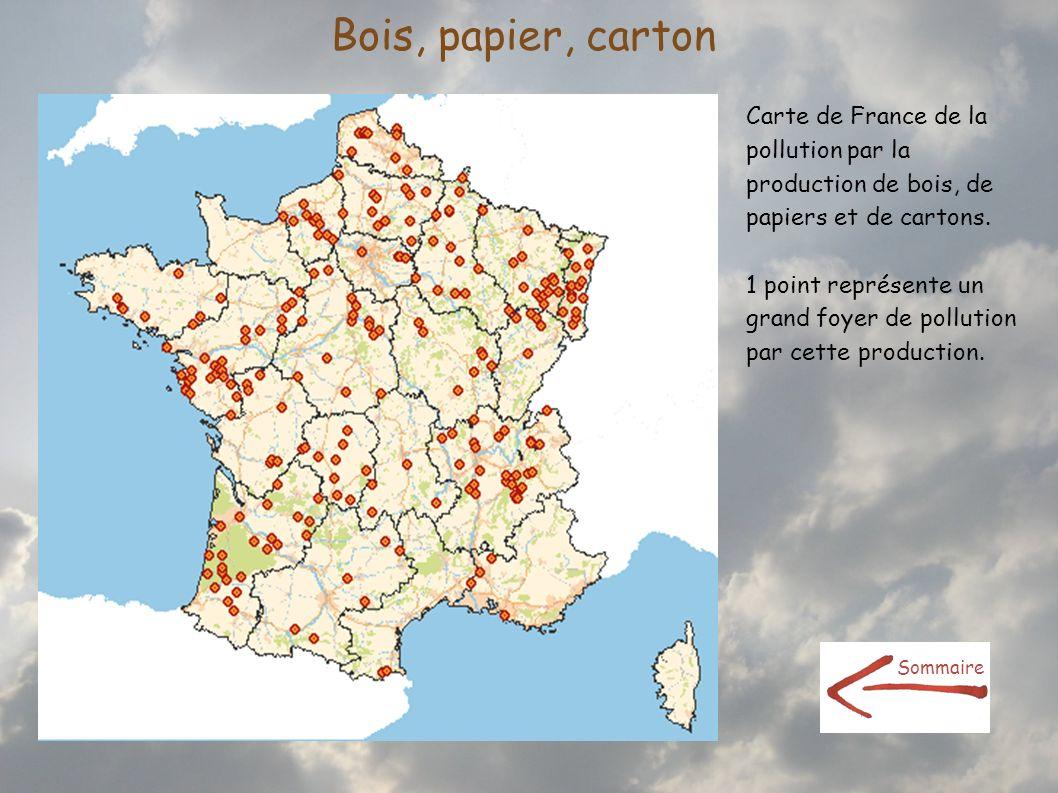 Bois, papier, cartonCarte de France de la pollution par la production de bois, de papiers et de cartons.