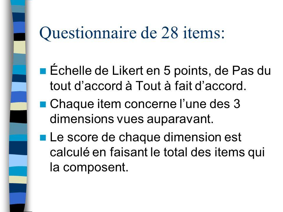 Questionnaire de 28 items: