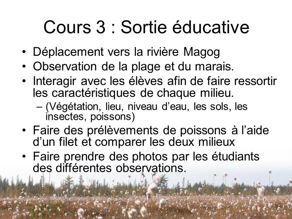 Cours 3 : Sortie éducative