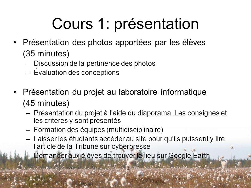 Cours 1: présentation Présentation des photos apportées par les élèves