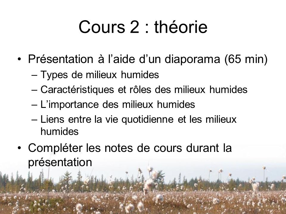 Cours 2 : théorie Présentation à l'aide d'un diaporama (65 min)