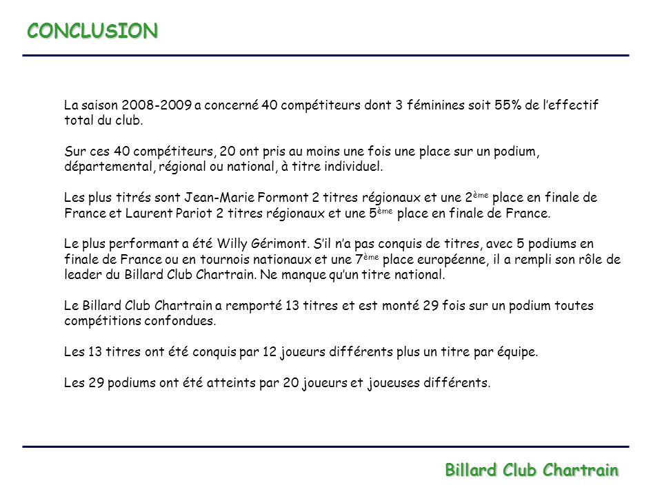CONCLUSION Billard Club Chartrain