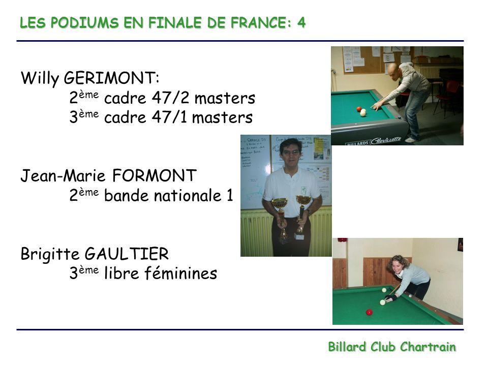 Willy GERIMONT: 2ème cadre 47/2 masters 3ème cadre 47/1 masters