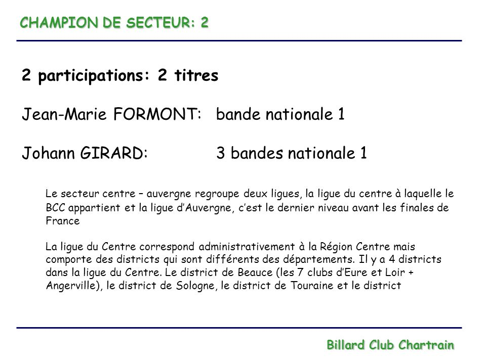 2 participations: 2 titres Jean-Marie FORMONT: bande nationale 1