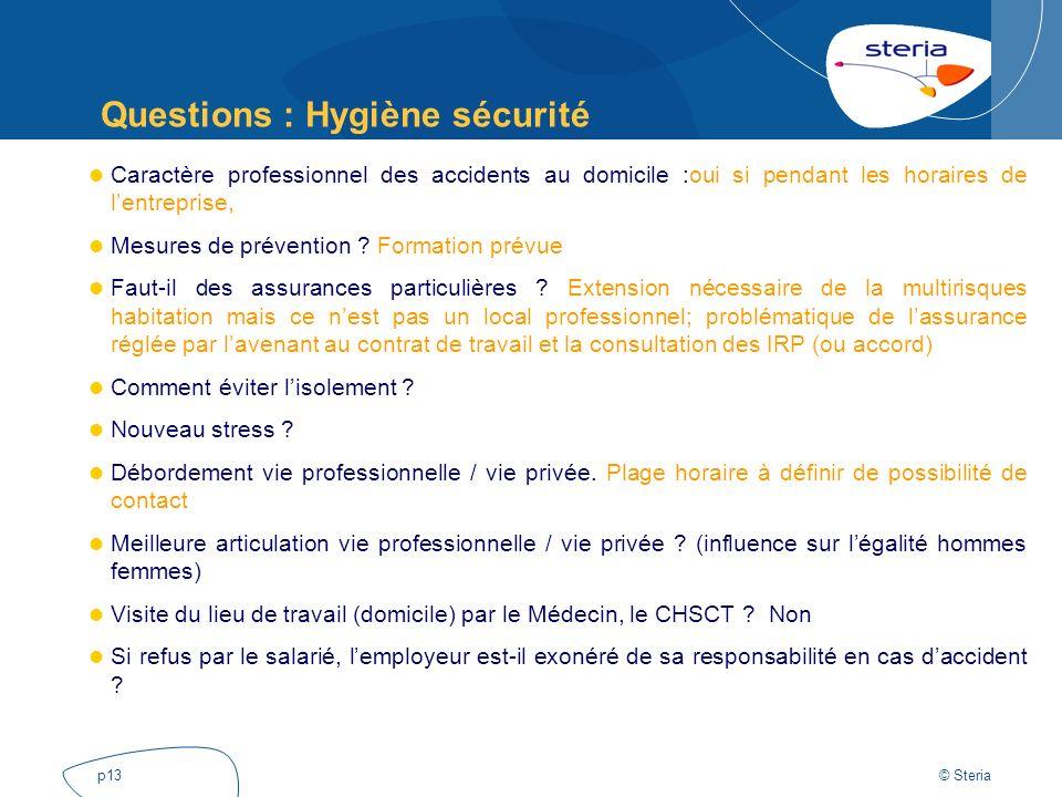 Questions : Hygiène sécurité