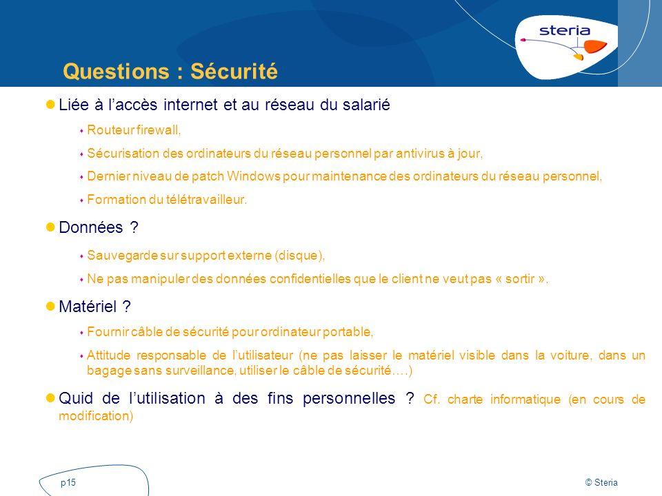 Questions : Sécurité Liée à l'accès internet et au réseau du salarié