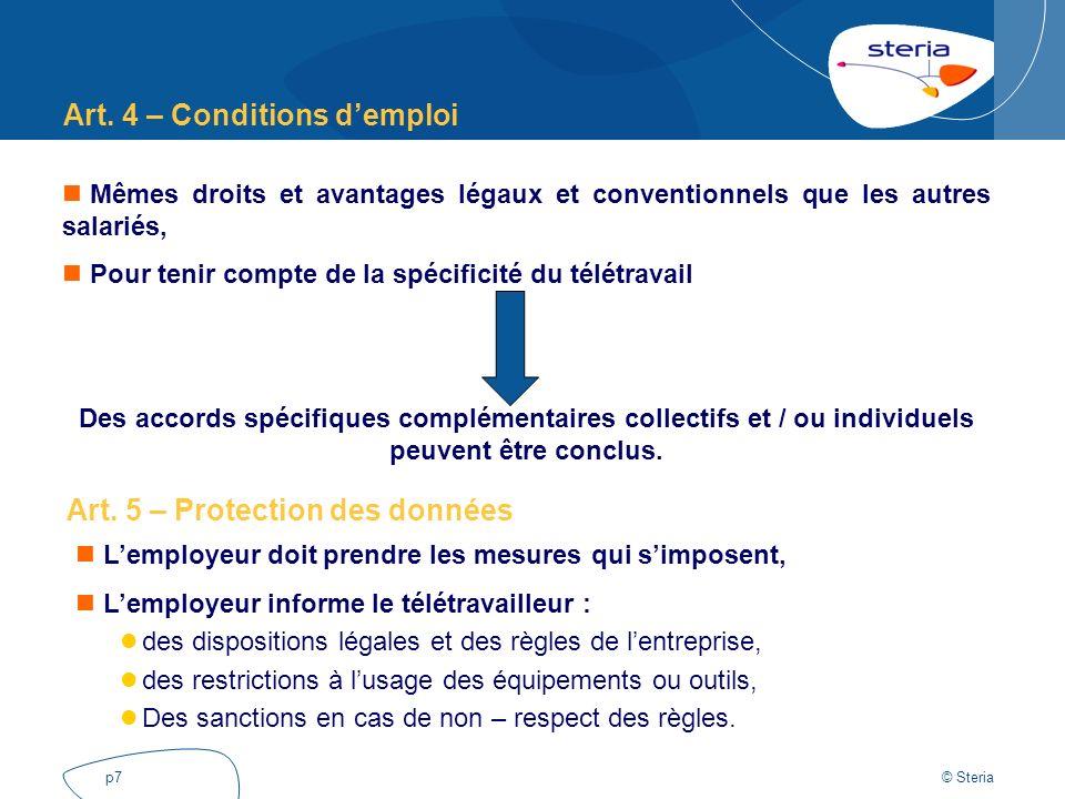 Art. 4 – Conditions d'emploi