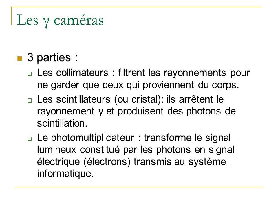 Les γ caméras 3 parties : Les collimateurs : filtrent les rayonnements pour ne garder que ceux qui proviennent du corps.