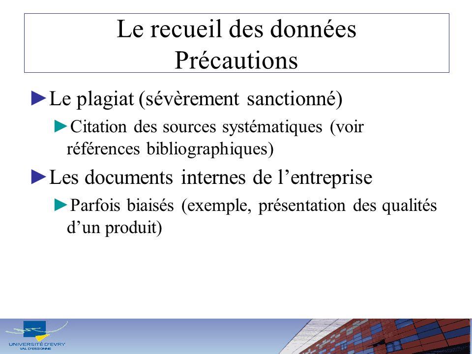 Le recueil des données Précautions